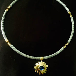 Charriol 18K Gold Steel Cable necklace blue stone
